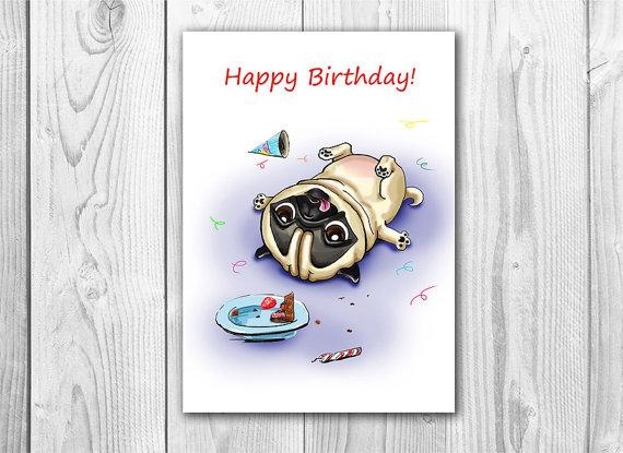Drawn pug birthday card Card Fenekdolls Pug Fenekdolls Printable