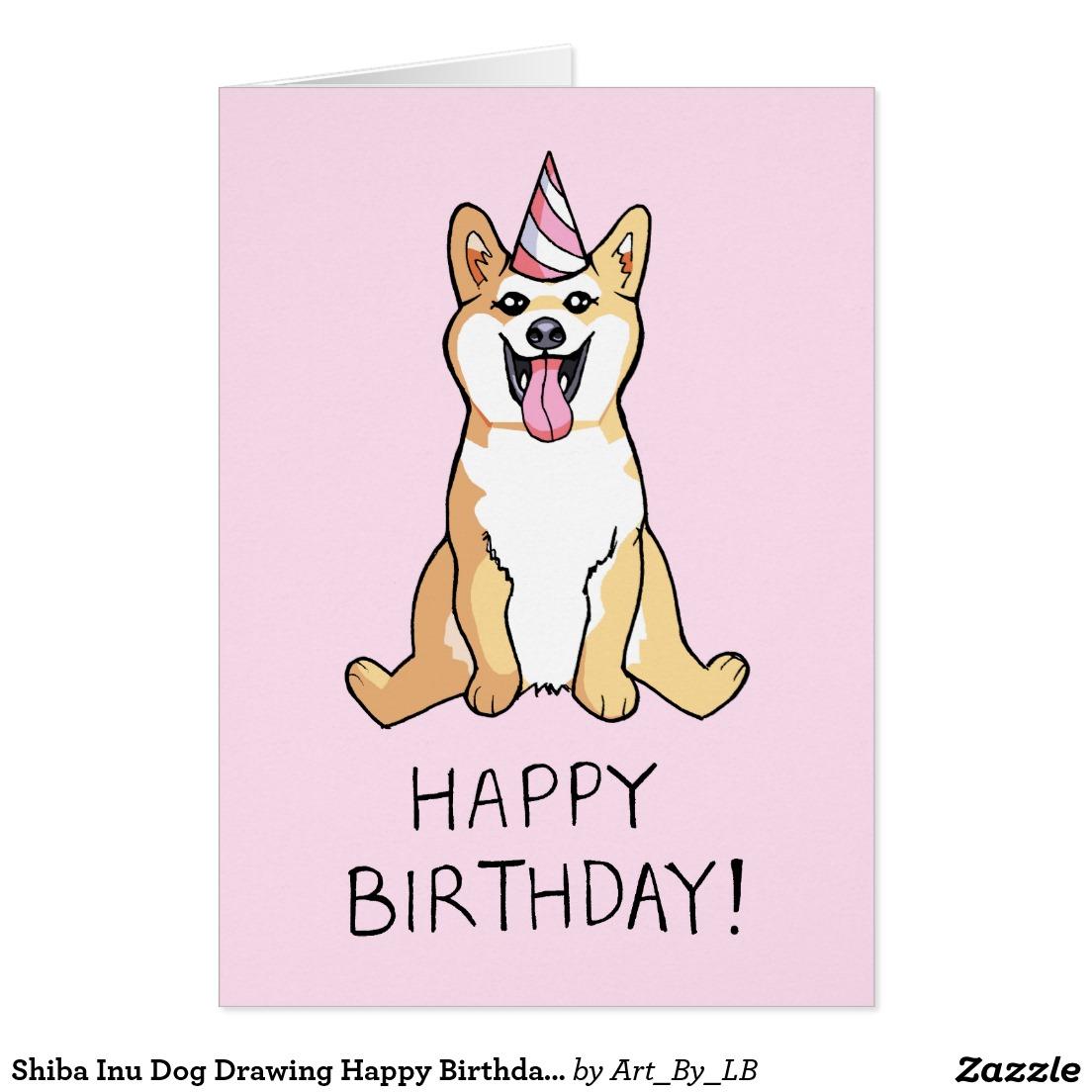 Drawn pug birthday card Happy birthday Shiba Shiba Drawing