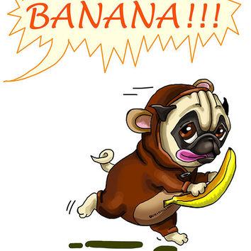 Drawn pug birthday card Monkey on Funny greeting Download