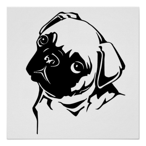 Drawn pug black and white Drawing Cute White Poster