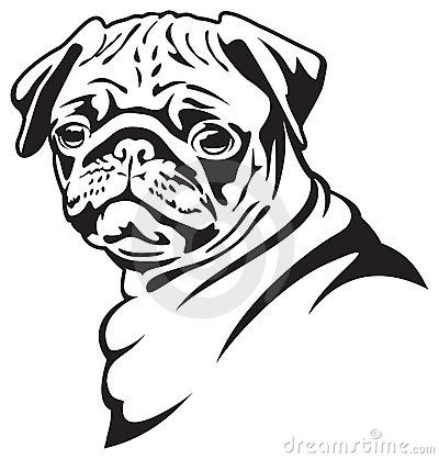Drawn pug black and white Pinterest portraits clip vector images