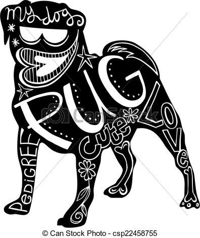 Drawn pug black and white 366 Stock Pug illustration dog