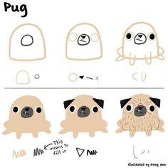 Drawn pug cartoon Basic pug a like We