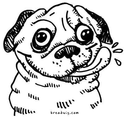 Drawn pug cartoon Com comic cartoon Progression Breadwig