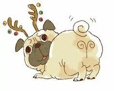 Drawn pug christmas Pug White Drawing Cute Poster