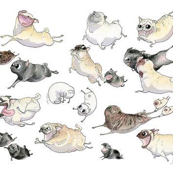 Drawn pug cute Run Pugs Poster Cute Print
