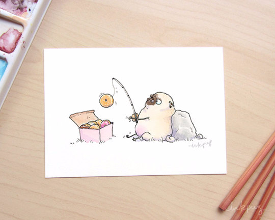 Drawn pug donut Pugs Funny Donut Donut with