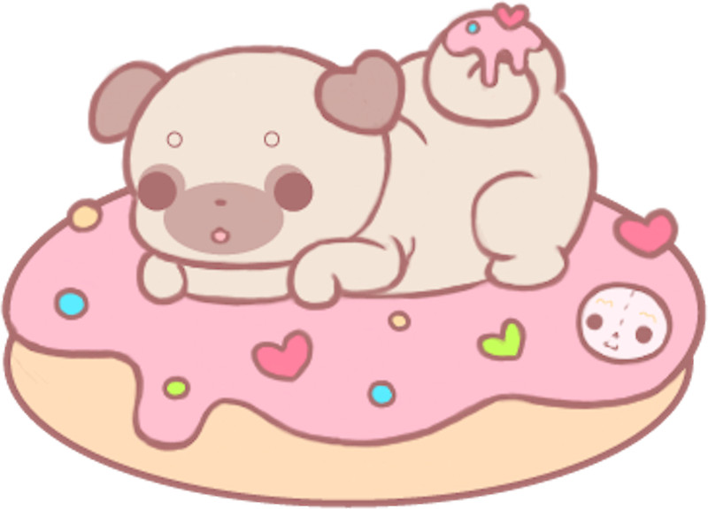 Drawn pug donut Donut Redbubble donut by pug