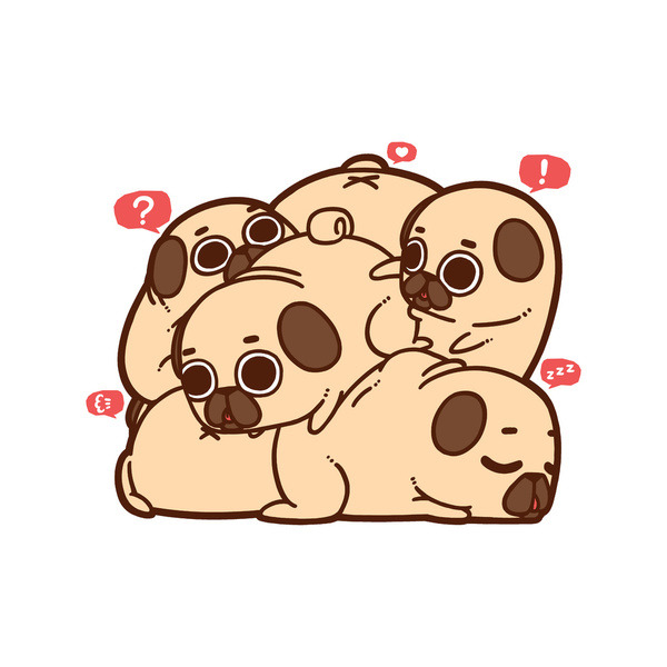 Drawn pug donut Zoom End are in
