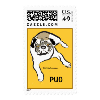 Drawn pug fabulous White ink Zazzle postage pug