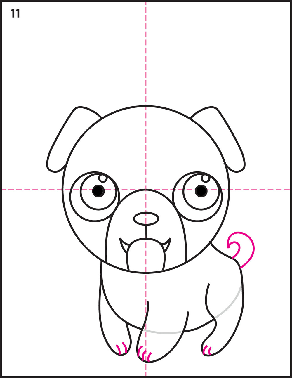 Drawn pug family drawing Front How Kids a leg