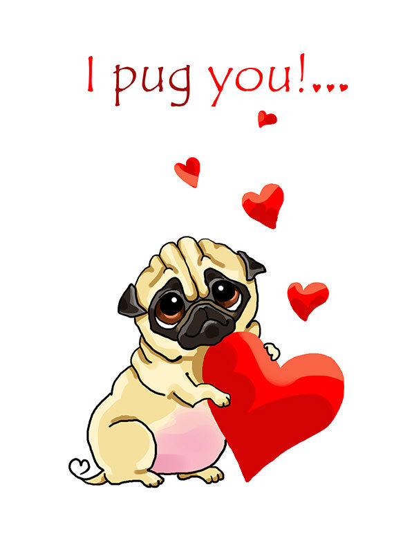 Drawn pug funny valentine Printable Printable greeting day with