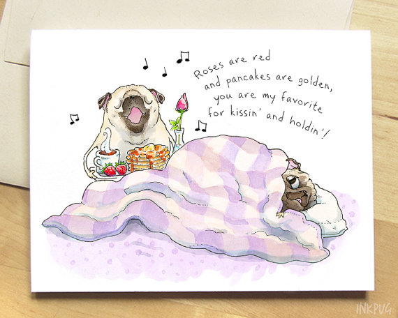 Drawn pug funny valentine Pug Valentine in Bed funny