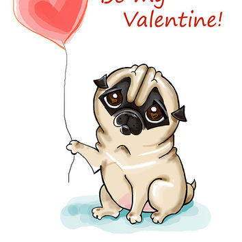 Drawn pug funny valentine 5 Instant Printable greeting card