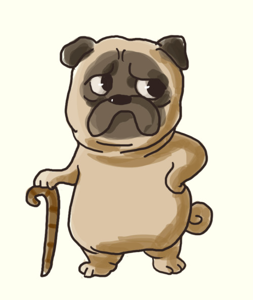 Drawn pug gentleman Pug Tumblr gentleman