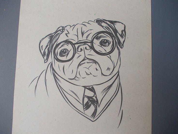 Drawn pug gentleman Best Print on Pug /