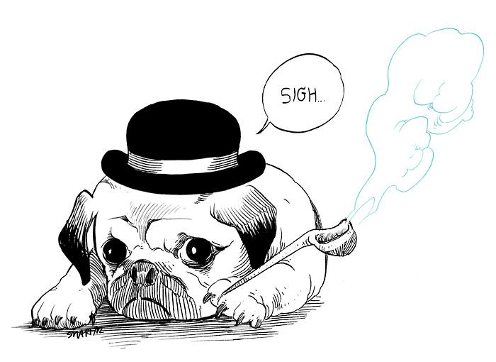 Drawn pug gentleman Page do pug this result