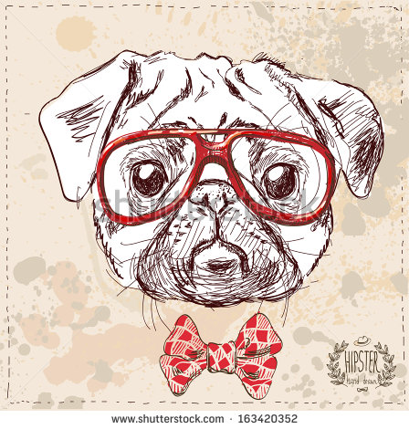 Drawn pug hipster On suit paper with on