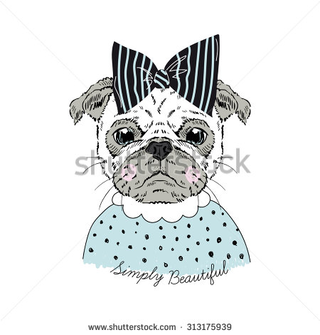 Drawn pug hipster Graphic graphic portrait girl hand