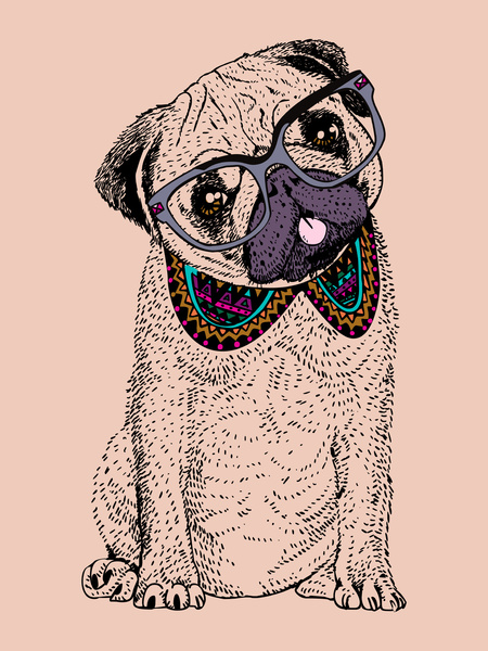 Drawn pug hipster By Hipster Pug — Hipster