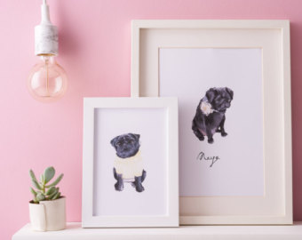 Drawn pug illustrated Cat pug Personalised Illustrated Pet