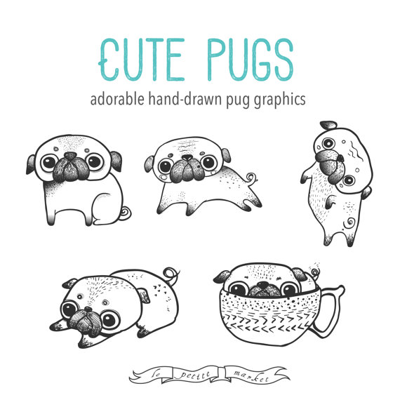 Drawn pug illustrated In  Illustration Drawn Adorable