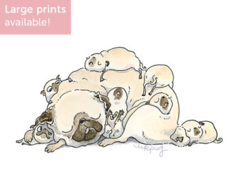 Drawn pug illustrated Illustrated Pug Print puppy Print