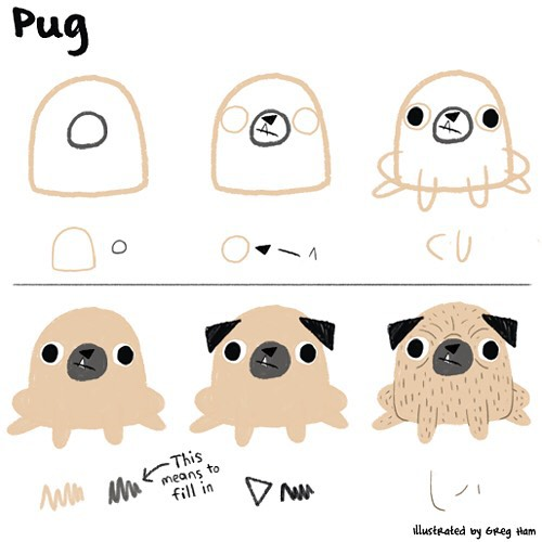 Drawn pug illustration tumblr Very a Emberley How to