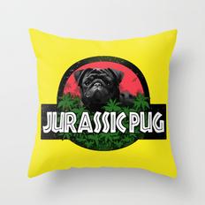 Drawn pug jurassic Pillows Throw Pug Society6 Pug