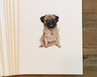 Drawn pug love note Pug Pug Blank drawing Note