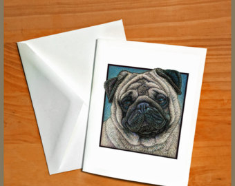 Drawn pug love note Etsy Cards Pug drawing on