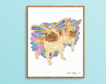 Drawn pug love note Girls Etsy Art Watercolor Pug