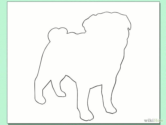Drawn pug outline DIY outline Google 10 images