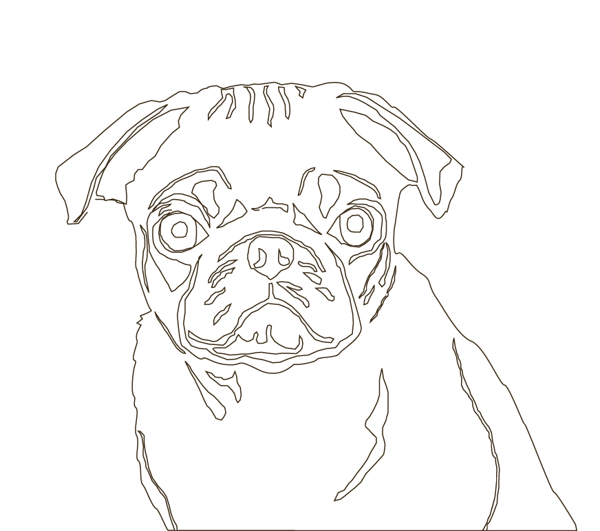 Drawn pug outline  and You can take