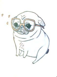 Drawn pug rip Animals love Pinterest pug Hipster