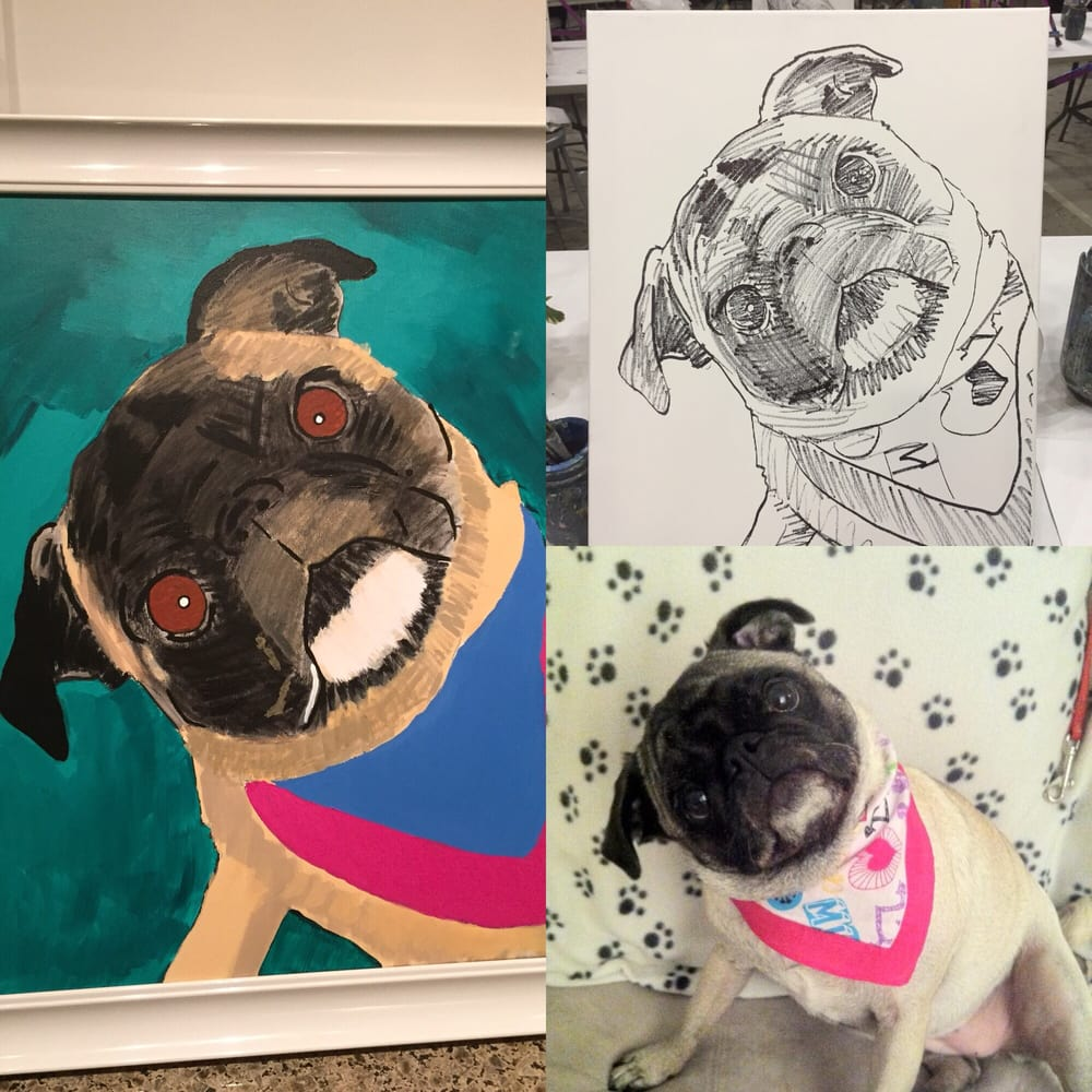 Drawn pug rip United Ontario Purple CA pug