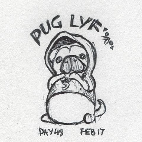Drawn pug thug Feb #pug Instagram #drawing Draws