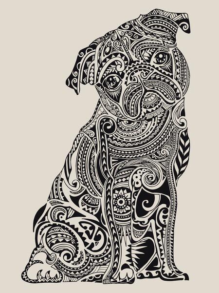 Drawn pug tribal Pug tribal Pug art Art