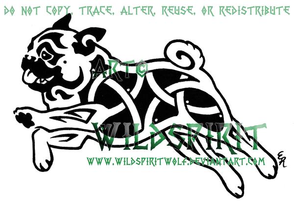 Drawn pug tribal Dog Tha Celtic Black By