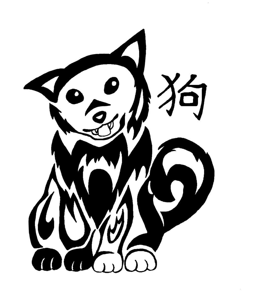 Drawn pug tribal Zodiac dog  Dog Tribal