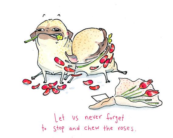 Drawn pug valentines day Stop Card Pug Card Pug