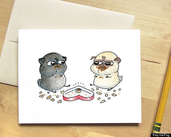 Drawn pug valentines day That 23 Cards Art Of