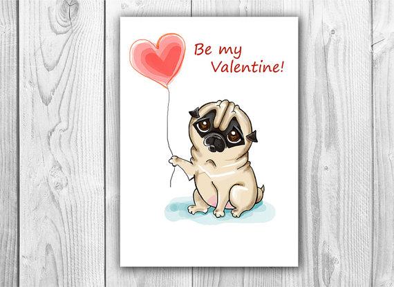 Drawn pug valentines day Heart 7