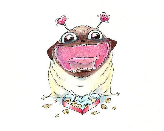 Drawn pug valentines day And best Valentine's Love Love