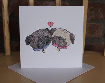 Drawn pug valentines day Wedding Etsy Pug Card a