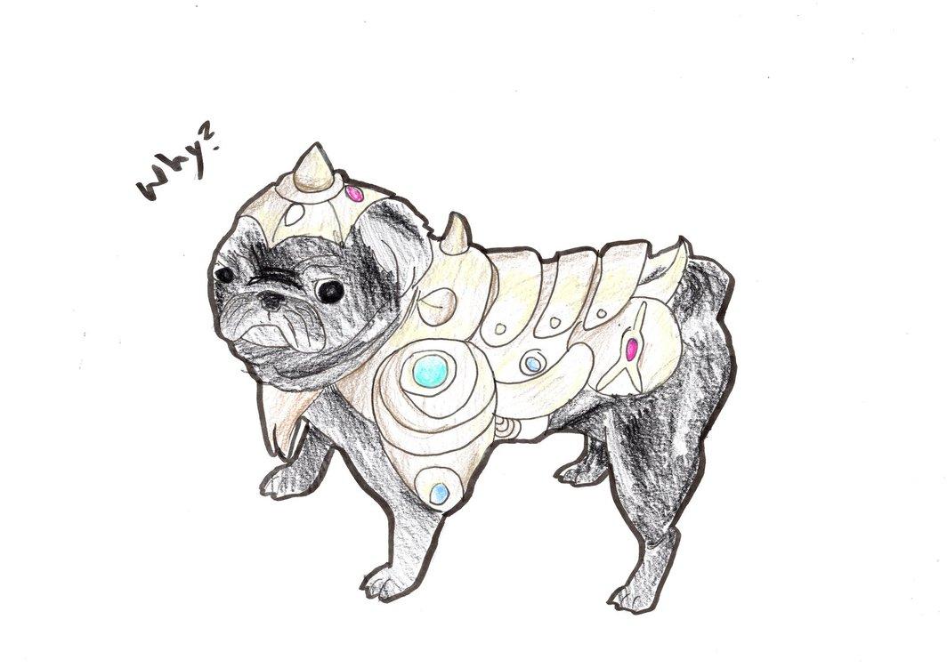 Drawn pug warrior Pug a DeviantArt a by