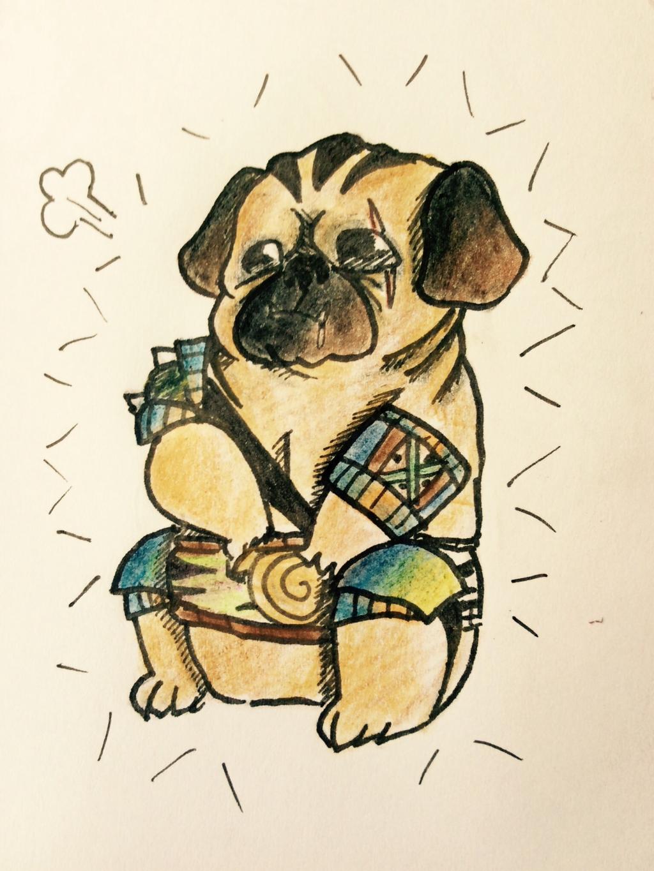 Drawn pug warrior By by on binnyford binnyford