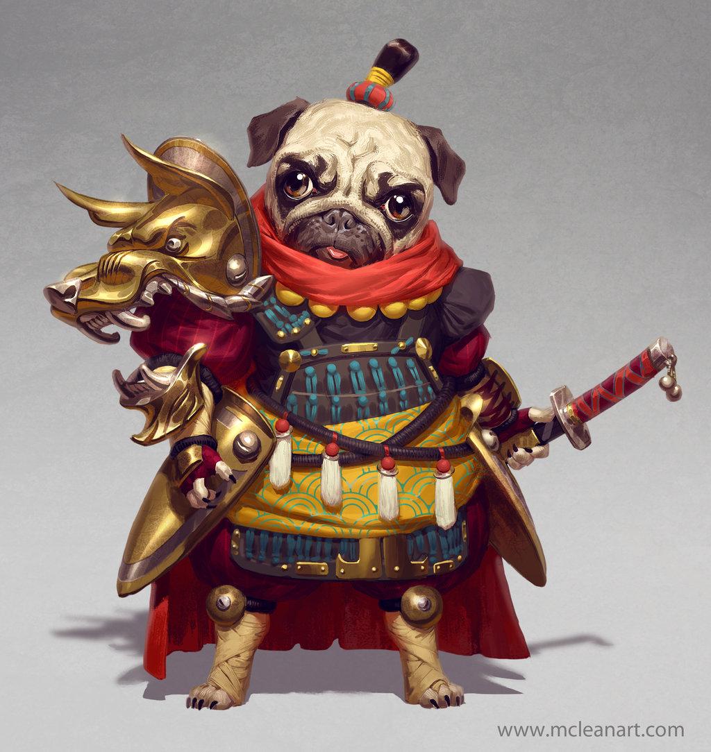 Drawn pug warrior By Warrior on madizzlee Pug