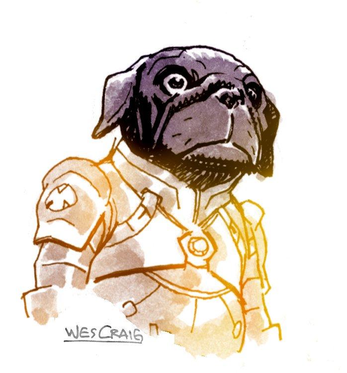 Drawn pug warrior Craig https://t