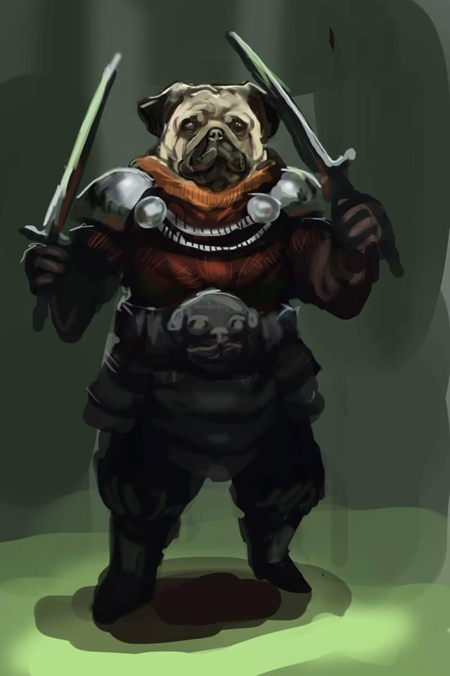 Drawn pug warrior Pure D&D Ascentions Race Homebrew